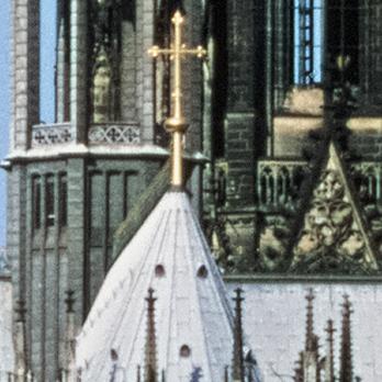 Ein Dia und die zu erkennenden Details des Kölner Doms