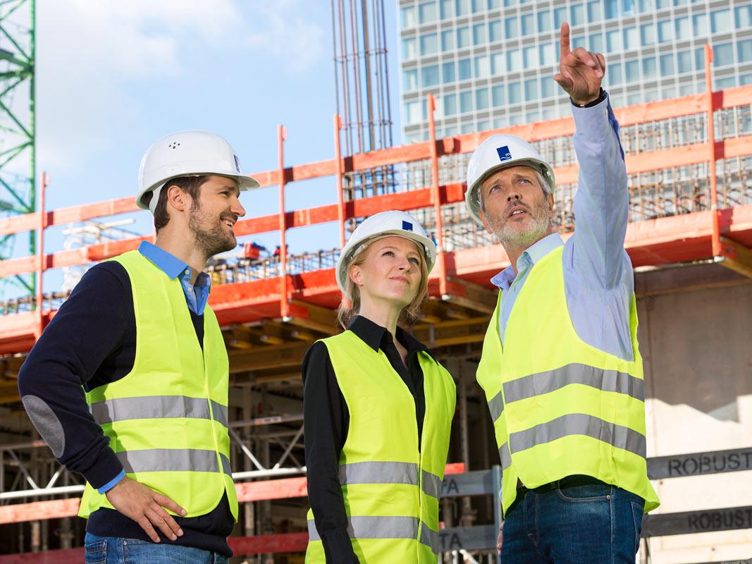Bauarbeiter Fotografie auf der Baustelle in Köln