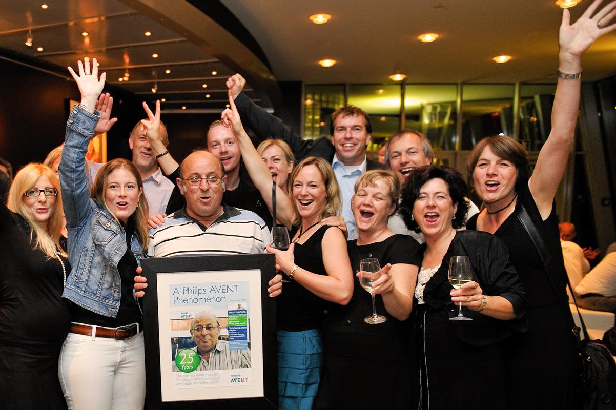 Gruppenfoto bei Party. Event im Schokoladenmuseum in Köln